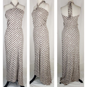 Ella Moss tan striped maxi halter dress, M
